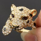Cute Panther Leopard Cocktail Ring Size 8# W/ Clear Swarovski Crystals