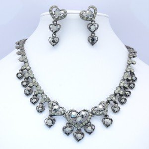 High Quality Multi Heart Necklace Earring Set W/ Black Swarovski Crystals 0558-9