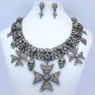 Lots Skull Cross Necklace Earring Set W/ Black A/B Swarovski Crystal Halloween