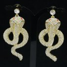 Animal Pierced Drop Cobra Snake Earring Clear Rhinestone Crystals Gold Tone