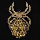 Vogue Swarovski Crystal  Brown Araneid Spider Brooch Pin