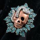 Vintage Style Perforate Snake Skull Cocktail Ring 6# Blue Swarovski Crystal
