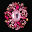"Vintage Style Pink Flower Pendant Brooch Broach Pin 2.5"" W/ Rhinestone Crystals"