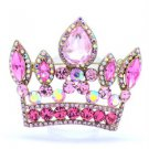 "Vintage Style 2.3"" Crown Pendant Brooch Broach Pin W/ Pink Rhinestone Crystals"