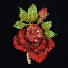 "Big Leaf Bud Rose Brooch Pin 5.5"" W/ Red Rhinestone Crystals"
