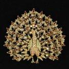"Brown Peafowl Peacock Brooch Pendant Pin 3.3"" W/ Rhinestone Crystals"
