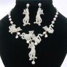 High Quality Swarovski Crystals Posh Clear Multi Cat Necklace Earring Set