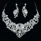 Bridal Oval Flower Necklace Earring Set W/ Clear Rhinestone Crystals 04312