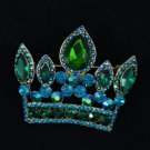 "Vintage Style 2.3"" Emerald Crown Pendant Brooch Pin W/ Rhinestone Crystals"