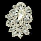 "Rhinestone Crystals Bride Teardrop Clear Flower Brooch Broach Pin 3.8"""
