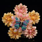 H-Quality Blossom Pink Flower Butterfly Cocktail Ring 6# w/ Swarovski Crystal