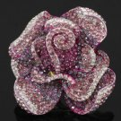 Vogue Purple Rose Flower Cocktail Ring Adjustable w Swarovski Crystals