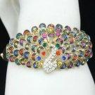 H-Quality Multicolor Peafowl Peacock Bracelet Bangle W/ Swarovski Crystals