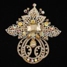Hot Sell Swarovski Crystals Large Big Brown Flower Brooch Pin 4.5""