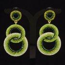 Stylish Dangle Pierced Green Circle Earring W/ Rhinestone Crystals