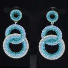 Stylish Dangle Pierced Blue Circle Earring W/ Rhinestone Crystals