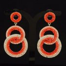 Stylish Dangle Pierced Red Circle Earring W/ Rhinestone Crystals