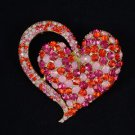 "Red Rhinestone Crystals Vogue Heart Brooch Pin 2.6"" Topaz"