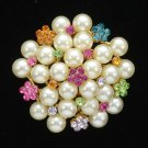 New Pretty Imitation Pearl Flower Brooch Pin Multicolor Swarovski Crystals