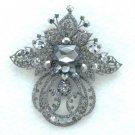 "Hot Retro Fashion Black Diamond Flower Brooch Pin 4.5"" W/ Swarovski Crystals"