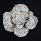 "Swarovski Crystal Clear Flower Rose Flower Brooch Pin 3.9"" For Wedding"