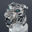 Swarovski Crystals High-Quality Animal Tiger Cocktail Ring 7# W/ Black Zircon