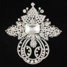 "Large Clear Flower Brooch Pin 4.5"" W Swarovski Crystals"