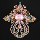 "Vintage Style Hot Multicolor Flower Brooch Pin 4.5"" W/ Rhinestone Crystals"