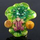 Swarovski Crystals Lotus Leaf Pink Frog Cocktail Ring USA:8#, UK:P 1/2
