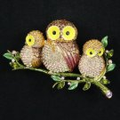 High Quality Brown 3 Owl Brooch Broach Pin W/ Swarovski Crystals