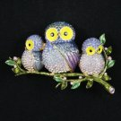 High Quality Blue 3 Owl Baby Brooch Broach Pin W/ Swarovski Crystals