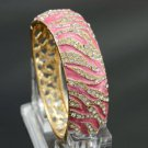 Gold Tone Pink Enamel Tiger Texture Bracelet Bangle w/ Clear Rhinestone Crystals