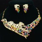 Charm Panther Leopard Necklace Earring Set W/ Multicolor Swarovski Crystals