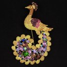 Rhinestone Crystals Brown Peafowl Peacock Brooch Pin 4.5""