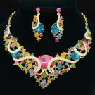 Vogue Oval Flower Necklace Earring Set Multicolor Rhinestone Crystals 04312