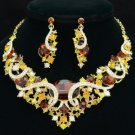 Vogue Oval Flower Necklace Earring Set Smoked Topaz Rhinestone Crystals 04312