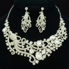 Rhinestone Fashion Clear Octopus Necklace Earring Jewelry Sets
