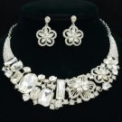 Ellipse Oblong Flower Necklace Earring Set W/ Clear Rhinestone Crystals Wedding