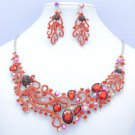 Rare Red Octopus Necklace Earring Set w/  Oval Rhinestone Crystals