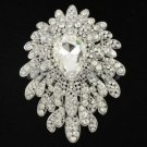 "Swarovski Crystals Pretty Clear Flower Brooch Broach Pin 3.5"" Wedding"