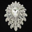 """Swarovski Crystals Pretty Clear Flower Brooch Broach Pin 3.5"""" Wedding"""