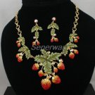 Swarovski Crystals Red Strawberry Necklace Earring Set W/ Green Leaf