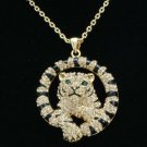 Vogue Brown Tiger Necklace Pendant W/ Swarovski Crystals High Quality