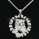 Clear Tiger Necklace Pendant W/ Swarovski Crystals High Quality