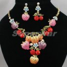 Vogue Strawberry Fruit Necklace Earring Set Swarovski Crystal