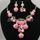 Swarovski Crystals Pink Strawberry Fruit Necklace Earring Set