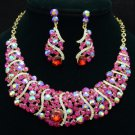 Fuchsia Rhinestone Crystals Simple Vogue Necklace Earring Set 02375