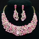 Pink Rhinestone Crystals Charm Simple Vogue Necklace Earring Set 02375