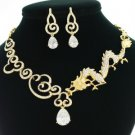 Animal Clear Dragon Drop Necklace Earring Set W/ Swarovski Crystsls