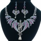 High Quality Posh Grisly Belial Skull Necklace Earring Set W/ Swarovski Crystals